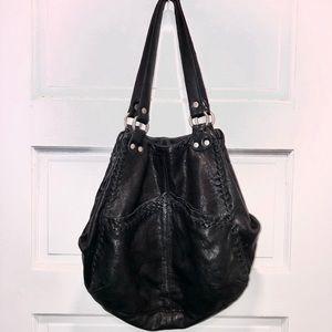 Lucky Brand Large Black Leather Shoulder Bag